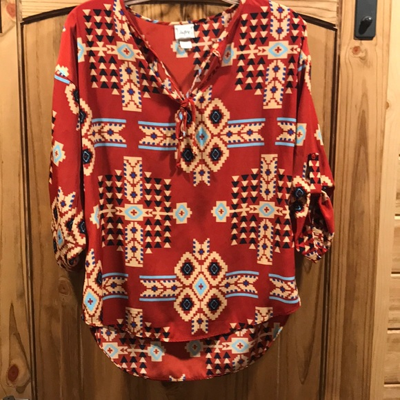 4056549f4 day trip Tops | Womens Rust Colored Aztec Printed Blouse | Poshmark